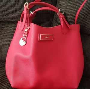 Red DKNY satchel/shoulder handbag